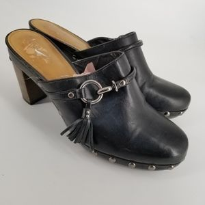 Coach black leather clogs wooden heel Sz 10
